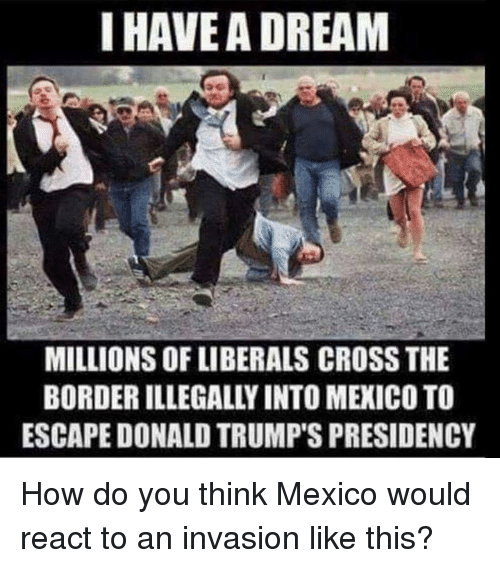 Memes, Cross, and Mexico: I HAVEA DREAM  MILLIONS OF LIBERALS CROSS THE  BORDER ILLEGALLY INTO MEXICO TO  ESCAPE DONALD TRUMP'S PRESIDENCY How do you think Mexico would react to an invasion like this?