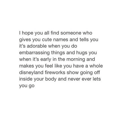 Cute, Disneyland, and Fireworks: I hope you all find someone who  gives you cute names and tells you  it's adorable when you do  embarrassing things and hugs you  when it's early in the morning and  makes you feel like vou have a whole  disneyland fireworks show going off  inside your body and never ever lets  you go