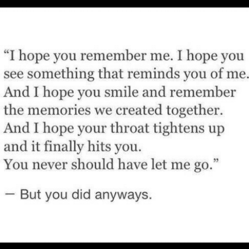 """Smile, Hope, and Never: """"I hope you remember me. I hope you  see something that reminds you of me.  And I hope you smile and remember  the memories we created together.  And I hope your throat tightens up  and it finally hits you.  You never should have let me go.  But you did anyways"""