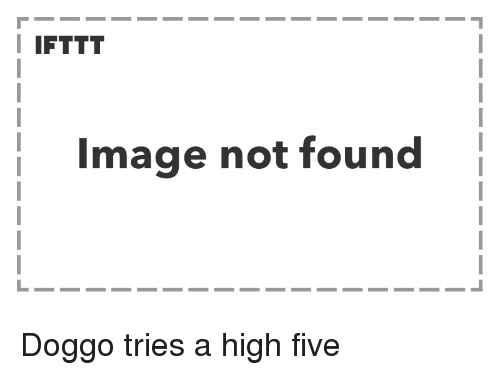 Image, Doggo, and High Five: I IFTTT  Image not found Doggo tries a high five