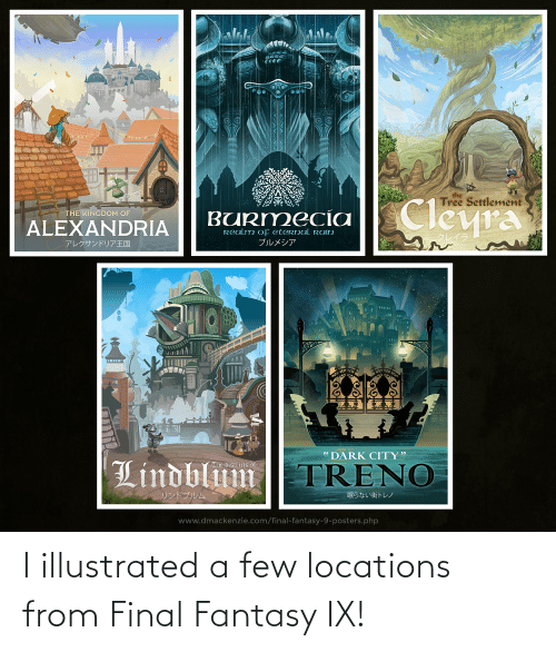 Locations: I illustrated a few locations from Final Fantasy IX!