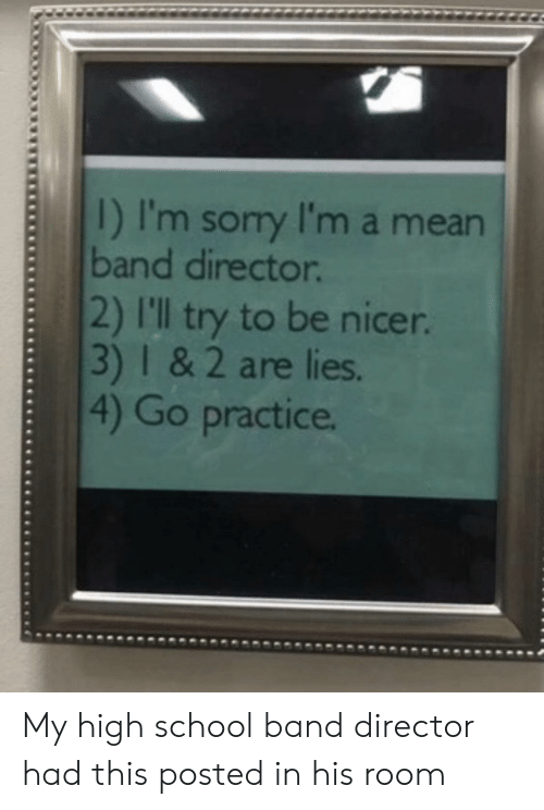 School, Mean, and Band: I) I'm sory I'm a mean  band director  2) I'l try to be nicer  3) I& 2 are lies.  4) Go practice. My high school band director had this posted in his room