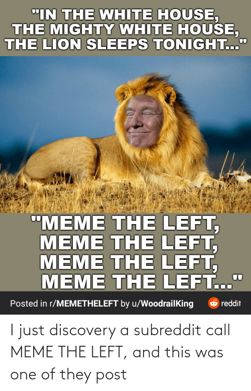 discovery: I just discovery a subreddit call MEME THE LEFT, and this was one of they post