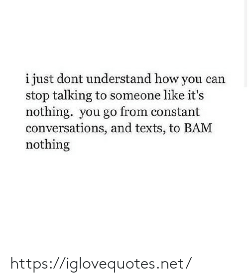 You Go: i just dont understand how you can  stop talking to someone like it's  nothing. you go from constant  conversations, and texts, to BAM  nothing https://iglovequotes.net/