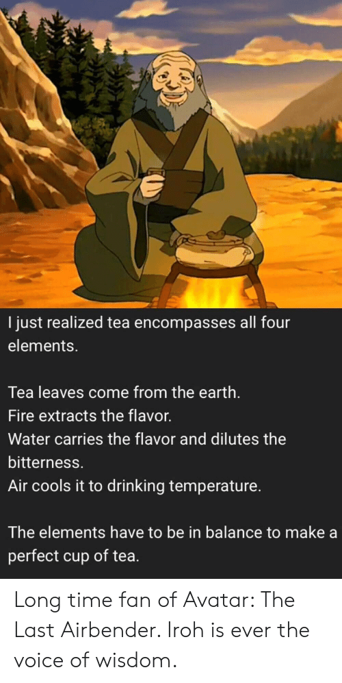 Avatar: I just realized tea encompasses all four  elements.  Tea leaves come from the earth.  Fire extracts the flavor.  Water carries the flavor and dilutes the  bitterness.  Air cools it to drinking temperature.  The elements have to be in balance to make a  perfect cup of tea. Long time fan of Avatar: The Last Airbender. Iroh is ever the voice of wisdom.