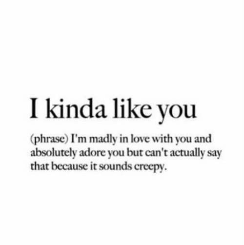 Madly: I kinda like you  (phrase) I'm madly in love with you and  absolutely adore you but can't actually say  that because it sounds creepy
