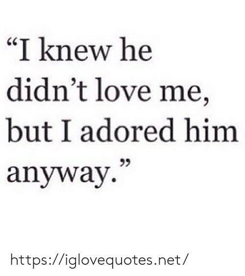 "Love, Net, and Him: ""I knew he  didn't love me,  but I adored him  anyway. https://iglovequotes.net/"