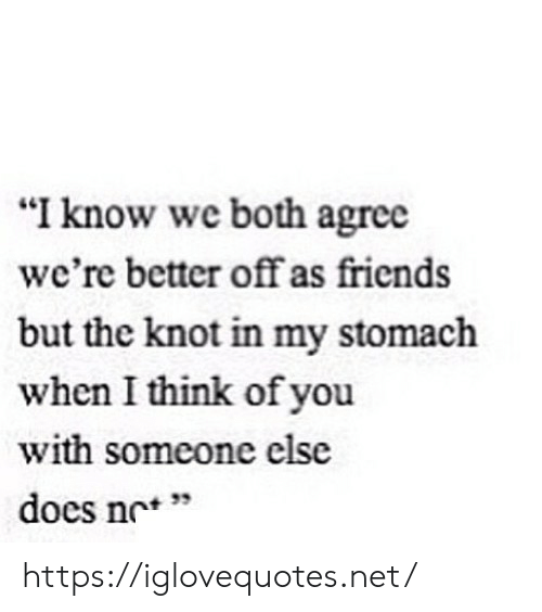 """Friends, Net, and Stomach: """"I know we both agree  we're better off as friends  but the knot in my stomach  when I think of you  with someone else  does no"""" https://iglovequotes.net/"""
