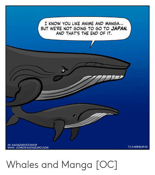 Anime, Japan, and Manga: I KNOW YOu LIKE ANIME AND MANGA...  BUT WE'RE NOT GOING TO 60 TO JAPAN,  AND THAT'S THE END OF IT  G: KADAZUROCOMICS  wWW: COMICS.KADAZURO.COM  (C) KADAtŁURO Whales and Manga [OC]