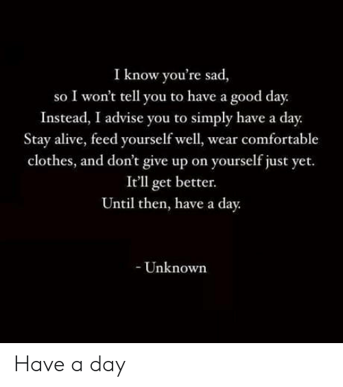I Wont Tell: I know you're sad,  so I won't tell you to have a good day.  Instead, I advise you to simply have a day.  Stay alive, feed yourself well, wear comfortable  clothes, and don't give up on yourself just yet.  It'll get better.  Until then, have a day.  - Unknown Have a day