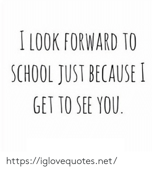 To See: I LOOK FORWARD TO  SCHOOL JUST BECAUSE I  GET TO SEE YOU https://iglovequotes.net/