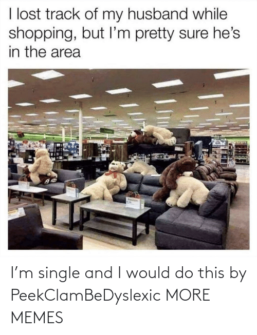 im-pretty-sure: I lost track of my husband while  shopping, but I'm pretty sure he's  in the area I'm single and I would do this by PeekClamBeDyslexic MORE MEMES