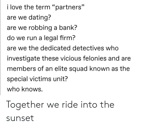 "dedicated: i love the term ""partners""  are we dating?  are we robbing a bank?  do we run a legal firm?  are we the dedicated detectives who  investigate these vicious felonies and are  members of an elite squad known as the  special victims unit?  who knows. Together we ride into the sunset"