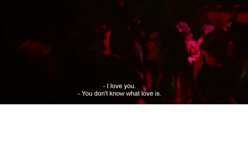 Love, I Love You, and You: - I love you.  You don't know what love is.