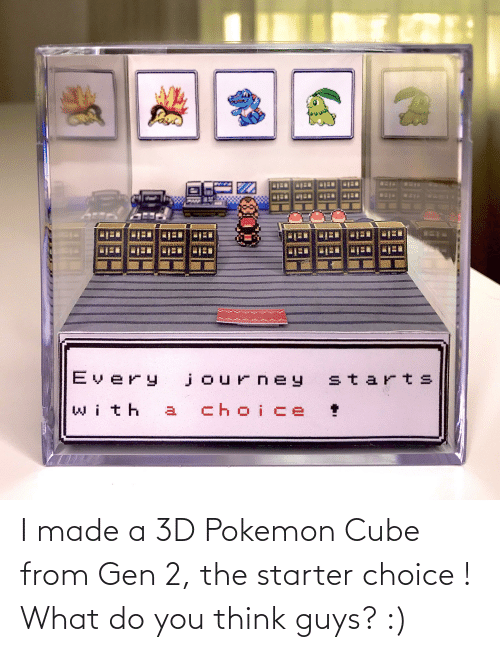 3d pokemon: I made a 3D Pokemon Cube from Gen 2, the starter choice ! What do you think guys? :)