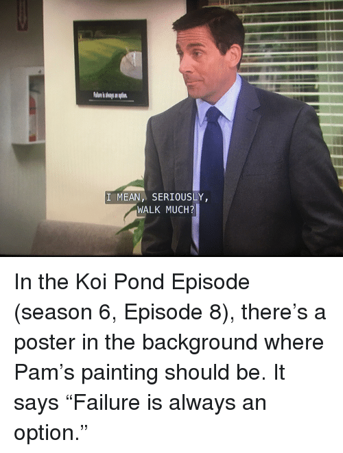 The Office, Koi, and Painting: I MEANSERIOUSLY  WALK MUCH?