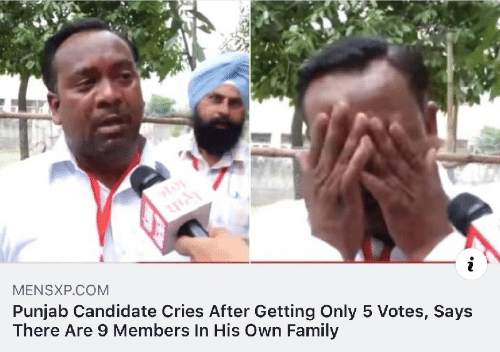 Family, Com, and Own: i  MENSXP.COM  Punjab Candidate Cries After Getting Only 5 Votes, Says  There Are 9 Members In His Own Family
