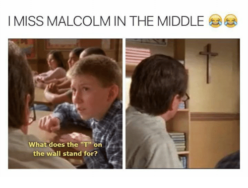 """Malcolm in the Middle: I MISS MALCOLM IN THE MIDDLE  What does the """"T"""" on  the wall stand for?"""