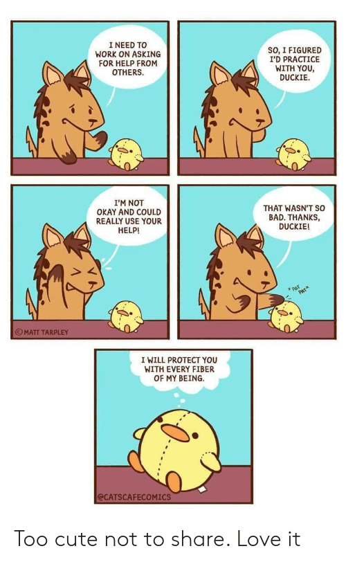Bad, Cute, and Love: I NEED TO  WORK ON ASKING  FOR HELP FROM  OTHERS  SO, I FIGURED  I'D PRACTICE  WITH YOU  DUCKIE  I'M NOT  OKAY AND COULD  REALLY USE YOUR  HELP!  THAT WASN'T so  BAD. THANKS,  DUCKIE!  PAT  PAT  MATT TARPLEY  I WILL PROTECT YOU  WITH EVERY FIBER  OF MY BEING  @CATSCAFECOMICS Too cute not to share. Love it