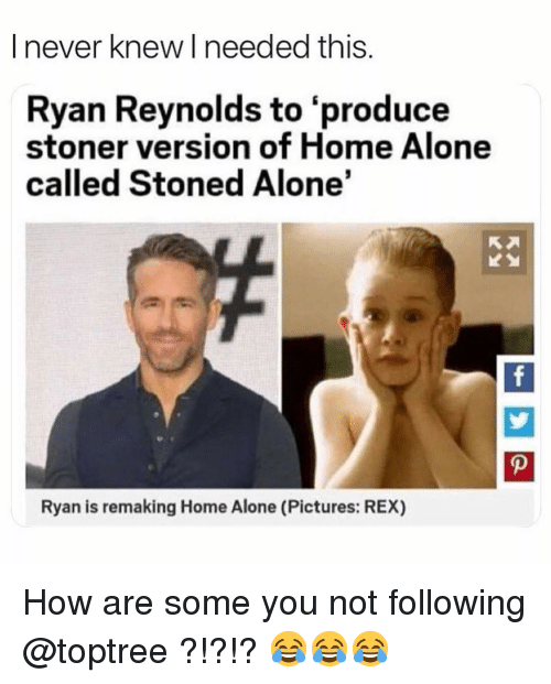 Being Alone, Home Alone, and Memes: I never knew I needed this.  Ryan Reynolds to 'produce  stoner version of Home Alone  called Stoned Alone'  Ryan is remaking Home Alone (Pictures: REX) How are some you not following @toptree ?!?!? 😂😂😂