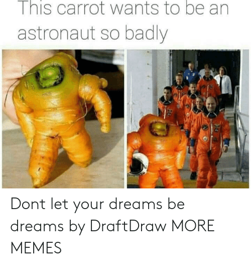 carrot: I nis carrot wants to be an  astronaut so badly Dont let your dreams be dreams by DraftDraw MORE MEMES