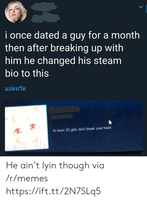 Girls, Memes, and Steam: i once dated a guy for a month  then after breaking up with  him he changed his steam  bio to this  แปลทวีต  At least 2D girls don't break your heart He ain't lyin though via /r/memes https://ift.tt/2N7SLq5