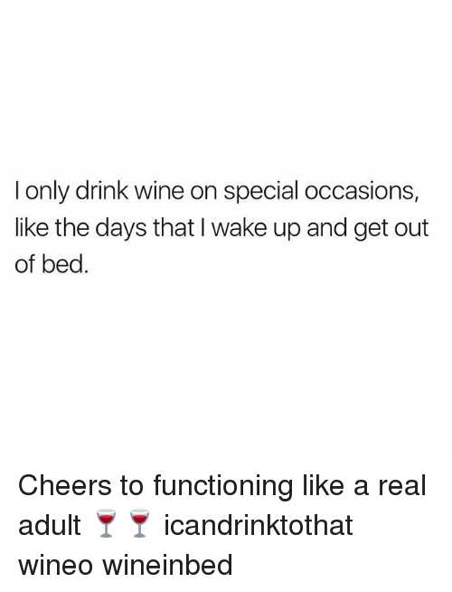 Drink Wine: I only drink wine on special occasions,  like the days that I wake up and get out  of bed. Cheers to functioning like a real adult 🍷🍷 icandrinktothat wineo wineinbed
