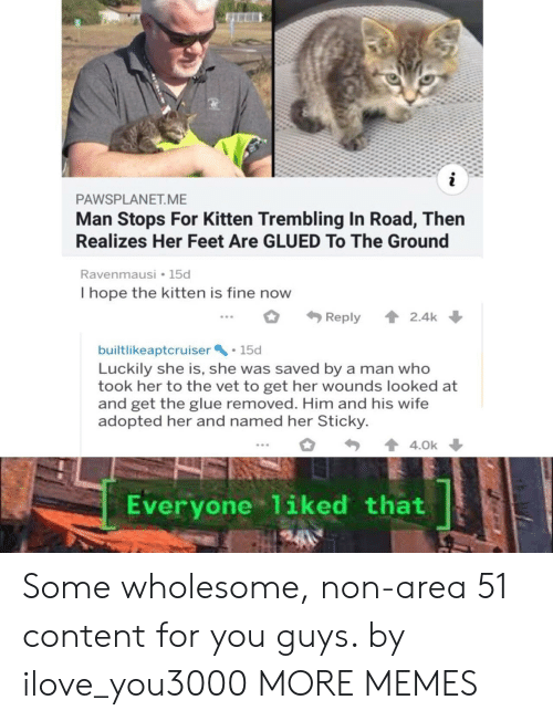 Dank, Memes, and Target: i  PAWSPLANET.ME  Man Stops For Kitten Trembling In Road, Then  Realizes Her Feet Are GLUED To The Ground  Ravenmausi 15d  I hope the kitten is fine now  2.4k  Reply  builtlikeaptcruiser 15d  Luckily she is, she was saved by a man who  took her to the vet to get her wounds looked at  and get the glue removed. Him and his wife  adopted her and named her Sticky  4.0k  Everyone 1iked that Some wholesome, non-area 51 content for you guys. by ilove_you3000 MORE MEMES