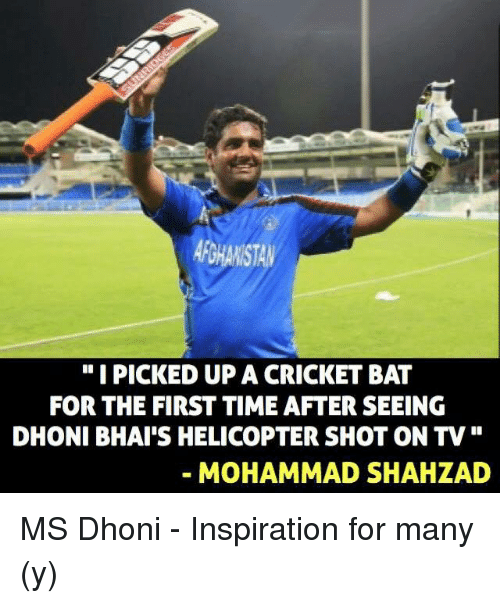 "cricket bat: ""I PICKED UP A CRICKET BAT  DHONI BHAI'S HELICOPTER SHOT ON TV  MOHAMMAD SHAH LAD MS Dhoni - Inspiration for many (y)"