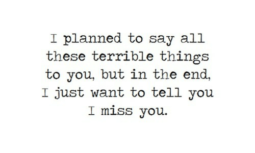 i miss you: I planned to say all  these terrible things  to you, but in the end,  I just want to tell you  I miss you