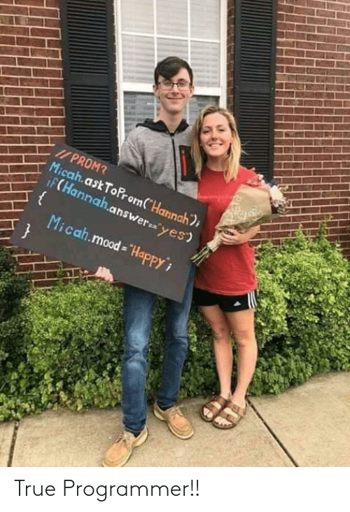 "Mood: I/ PROM?  Micah.ask ToProm(""Hannah);  iF(Hannah.answer=""yes)  Micah.mood = ""HapPPY True Programmer!!"