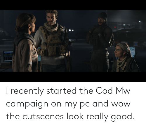 cod: I recently started the Cod Mw campaign on my pc and wow the cutscenes look really good.
