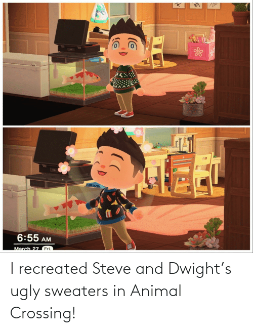 sweaters: I recreated Steve and Dwight's ugly sweaters in Animal Crossing!