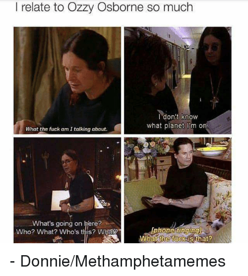 Ozzies: I relate to Ozzy Osborne so much  I don't know  what planet m on  What the fuck am Italking about.  What's going on here?  Who? What? Who's this? What?  What the fuck is that? - Donnie/Methamphetamemes