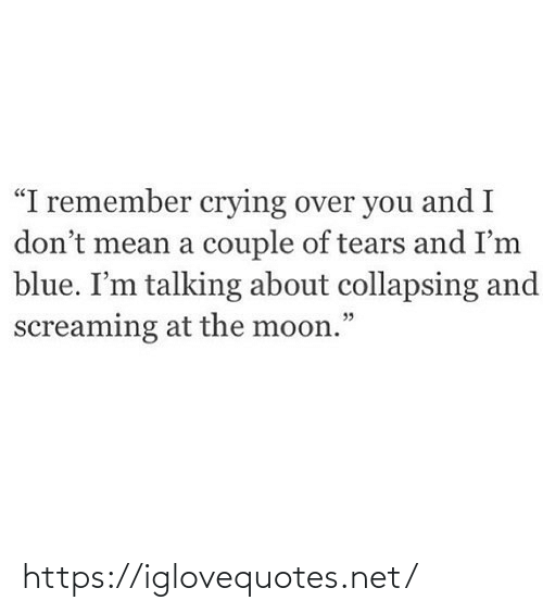 "screaming: ""I remember crying over you and I  don't mean a couple of tears and I'm  blue. I'm talking about collapsing and  screaming at the moon."" https://iglovequotes.net/"