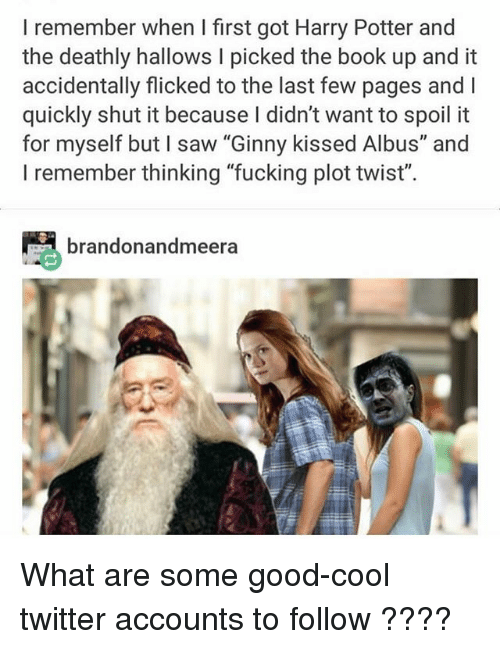 "Fucking, Harry Potter, and Ironic: I remember when I first got Harry Potter and  the deathly hallows I picked the book up and it  accidentally flicked to the last few pages and I  quickly shut it because I didn't want to spoil it  for myself but I saw ""Ginny kissed Albus"" and  I remember thinking ""fucking plot twist"".  brandonandmeera What are some good-cool twitter accounts to follow ????"