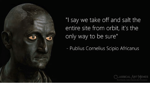 "classical art memes: ""I say we take off and salt the  entire site from orbit, it's the  only way to be sure""  - Publius Cornelius Scipio Africanus  CLASSICAL ART MEMES  facebook.com/classicalartmemes"