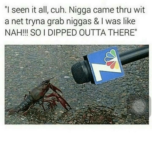 """I Seen It: """"I seen it all, cuh. Nigga came thru wit  a net tryna grab niggas & I was like  NAH!!! SO I DIPPED OUTTA THERE"""""""