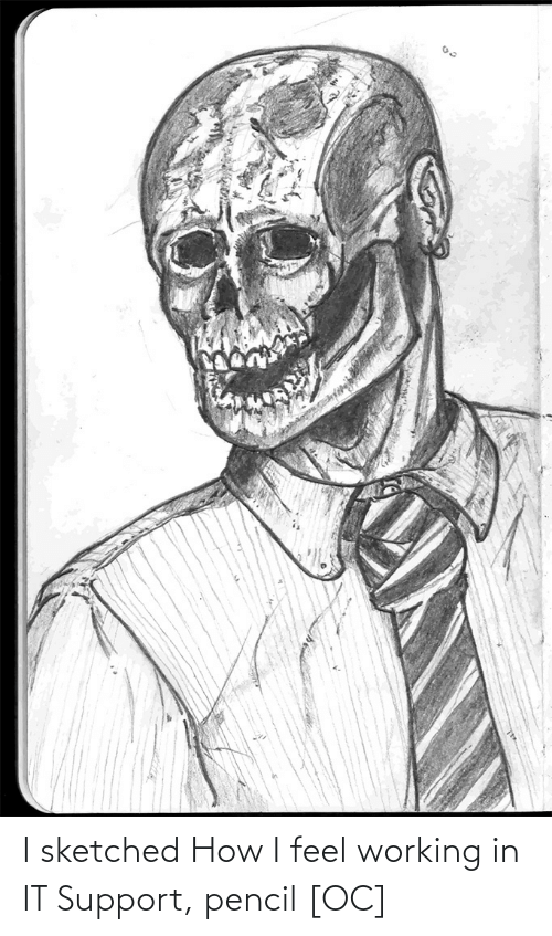 How I Feel: I sketched How I feel working in IT Support, pencil [OC]