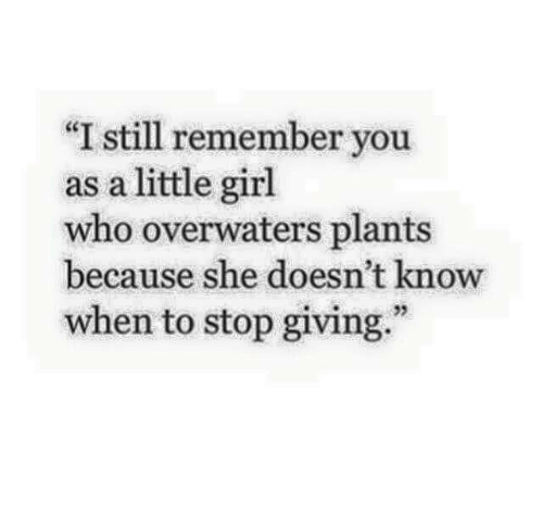 """Girl, Who, and She: """"I still remember you  as a little girl  who overwaters plants  because she doesn't know  when to stop giving.""""  25"""
