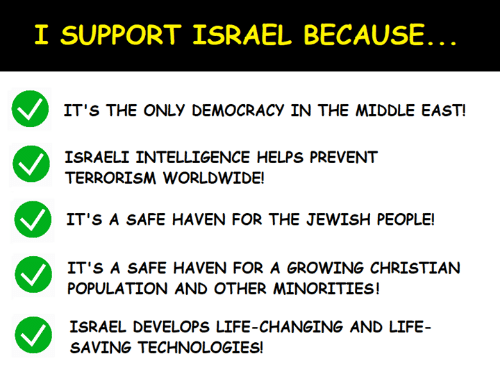 Minorities: I SUPPORT ISRAEL BECAUSE  IT'S THE ONLY DEMOCRACY IN THE MIDDLE EAST  ISRAELI INTELLIGENCE HELPS PREVENT  TERRORISM WORLDWIDE!  IT'S A SAFE HAVEN FOR THE JEWISH PEOPLE!  IT'S A SAFE HAVEN FOR A GROWING CHRISTIAN  POPULATION AND OTHER MINORITIES!  ISRAEL DEVELOPS LIFE-CHANGING AND LIFE  SAVING TECHNOLOGIES!