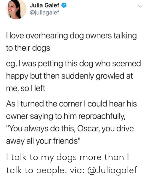 More Than: I talk to my dogs more than I talk to people. via: @Juliagalef