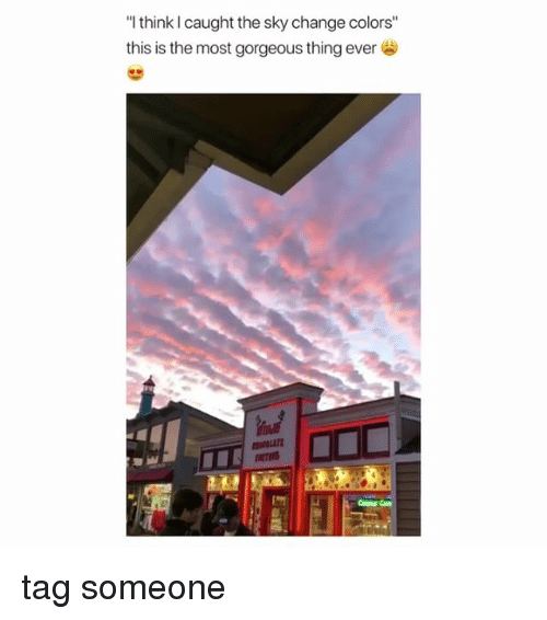 """Gorgeous, Tag Someone, and Girl Memes: """"I think I caught the sky change colors""""  this is the most gorgeous thing ever  NOLIr tag someone"""