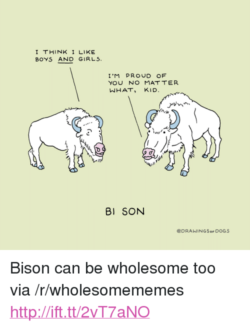 "bison: I THINK I LIKE  BOYS AND GIRLS.  I'M PROUD OF  NHAT, KID  1)  BI SON  @DRAWINGSoF DOGS <p>Bison can be wholesome too via /r/wholesomememes <a href=""http://ift.tt/2vT7aNO"">http://ift.tt/2vT7aNO</a></p>"