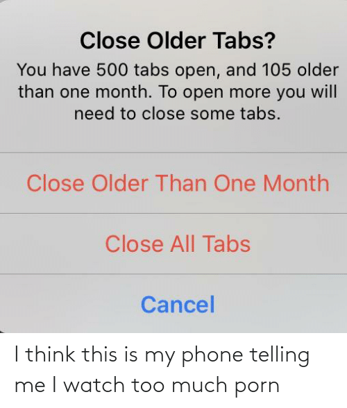Telling: I think this is my phone telling me I watch too much porn