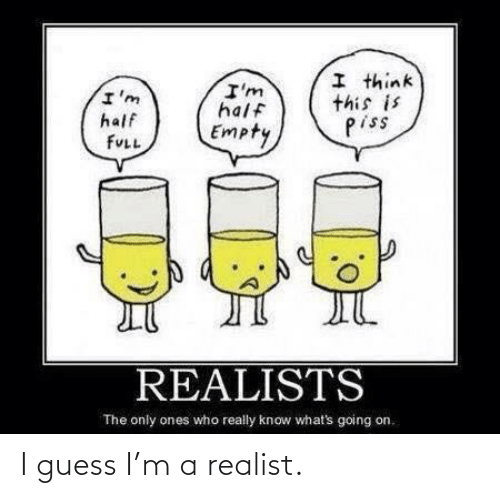 Guess, Who, and Think: I think  this is  piss  I'm  half  I'm  half  Empty  FULL  REALISTS  The only ones who really know what's going on. I guess I'm a realist.
