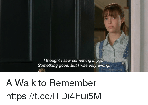 a walk to remember: I thought I saw something in you  Something good. But I was very wrong A Walk to Remember https://t.co/lTDi4Fui5M