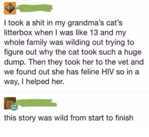 Wilding: I took a shit in my grandma's cat's  litterbox when I was like 13 and my  whole family was wilding out trying to  figure out why the cat took such a huge  dump. Then they took her to the vet and  we found out she has feline HIV so in a  way, I helped her.  this story was wild from start to finish