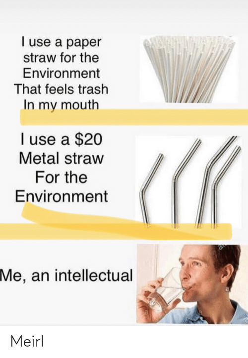 Metal: I use a paper  straw for the  Environment  That feels trash  In my mouth  I use a $20  Metal straw  For the  Environment  Me, an intellectual Meirl