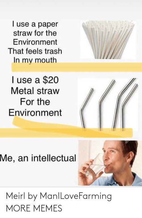 Metal: I use a paper  straw for the  Environment  That feels trash  In my mouth  I use a $20  Metal straw  For the  Environment  Me, an intellectual Meirl by ManILoveFarming MORE MEMES